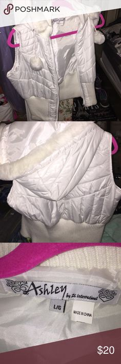 White Vest with hood Comfy cute white Vest has a good attached Ashley  Jackets & Coats Vests