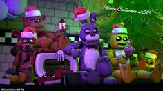 Just wanted to make a FNAF Poster about Christmas. Merry Christmas, everyone! Fiiiive Nights at Freddy's by Scott Cawthon Merry Christmas 2015 (SFM) Christmas 2015, Merry Christmas, Holiday, Good Horror Games, Fnaf 1, Anime Furry, Freddy S, Five Nights At Freddy's, Art Sketches