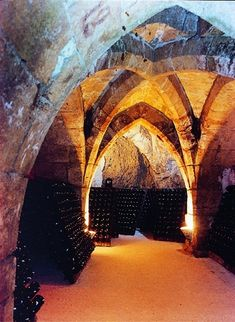 The caves at Champagne Taittinger in Reims France