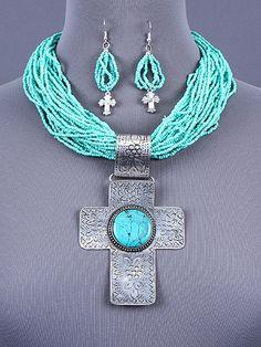 UnikLook Jewelry - Chunky turquoise cross Necklace set, $13.75 (http://uniklook.com/chunky-turquoise-cross-necklace-set/)