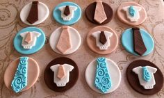 12 Fondant Edible Cupcake/cookie toppers  Tie and by TopCakeDecors, $24.00