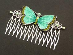 Großer Haarkamm mit Schmetterling in grün silber Sommer
