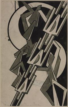 Helen Saunders, Monochrome Abstract Composition, c. 1915