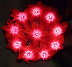 """Vintage Christmas Wreath Electric Red Poinsettia Silver Accent 8"""" Cloth Material"""