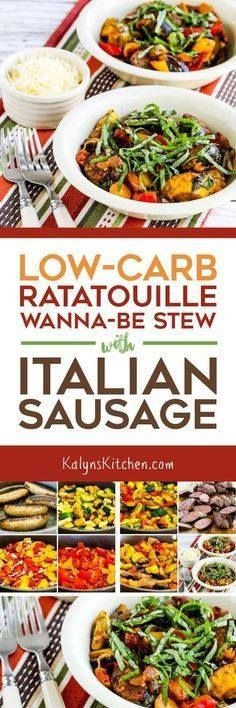 Low-Carb Ratatouille Low-Carb Ratatouille Wanna-Be Stew with Italian Sausage is a variation on the famous French stew made with summer vegetables but this one adds Italian sausage pieces for added protein. And this tasty stew is low-carb low-glycemic gluten-free and South Beach Diet friendly and it can easily be Keto. [found on KalynsKitchen.com] Recipe : http://ift.tt/1hGiZgA And @ItsNutella  http://ift.tt/2v8iUYW  Low-Carb Ratatouille Low-Carb Ratatouille Wanna-Be Stew with...