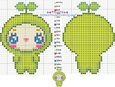 Cute Apple Kid Hama Perler Bead Pattern or Cross Stitch Chart