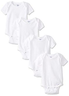 Gerber Unisex-Baby Newborn 4 Pack Organic Onesies Brand White 3-6 Months