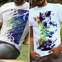 Shirt Designs. The designs are photoshopped pieces of one of my traditional abstract paintings. #art #design #fashion #mockup #mockupdesign