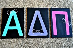 Alpha Delta Pi Letters painted canvas. ADPi craft bows...but Phi Mu