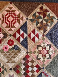really beautiful sampler quilt, great use of color and contrast.
