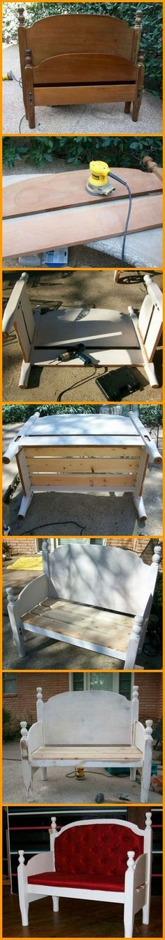 This bench is made from a repurposed headboard and footboard! You can view how it's made in this album here: http://theownerbuildernetwork.co/cxvj Got an old bed frame that has seen better days? #garagerefurbishing