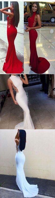 2017 prom dress, long prom dress, red prom dress, white prom dress, mermaid long prom dress with train