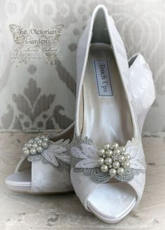 JANUARY vintage lace peep toe bridal shoes by TheVictorianGarden, $147.00