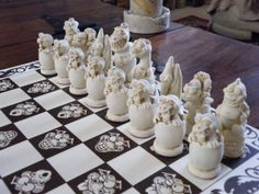 Vintage Resin Cheeky Dragon Chess set with by ChessMouldsAndMore