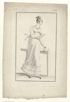 Anonymous | Journal des Dames et des Modes, Costume Parisien, 5 juin 1813 (1316), Anonymous, Pierre de la Mésangère, 1813 | Vrouw, staande bij een hek, in een japon met lange mouwen en strikken bij de polsen: 'robe à la Vierge'. In het haar twee haarbanden. Verdere accessoires: oorbel in het rechteroor, collier bestaande uit drie snoeren, ceintuur, platte schoenen met gekruiste banden en strikken. Proefdruk van een prent uit het modetijdschrift Journal des Dames et des Modes, uitgegeven door…