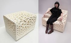 Breathing Chair by Wu Yu-Ying.  a perforated foam chair that transforms its shape according to the body of the sitter.