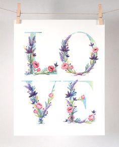 Acuarela amor arte estampado Floral de ilustración acuarela