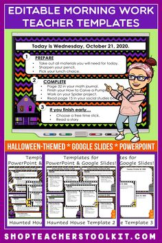 These Halloween-themed Editable PowerPoint and Google Slides Teacher Templates include space to type the day and date, reminders of what to do when entering the classroom, as well as 'must do' and 'may do' assignments. Remind your students of their morning assignments during arrival time by displaying them on your whiteboard or SMARTBoard. #teachertemplates #morningarrivalinstructions #editable #powerpoint #googleslides #Halloween