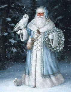 Blue Santa #santaclaus #winter #owl