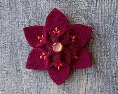 Christmas Snowflake Winter Brooch from felted recycled wool sweaters