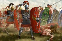 ROMAN: Gallic Wars, 58-51 BCE, artwork by J. Shumate