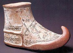 Etruscan shoe vessel found at Charchemish, Hittite trading city, ca. 1900  BCE, Central Anatolia.