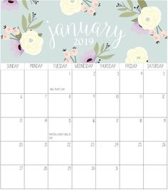 17 Best 100 Cute January 2019 Calendar Floral Wallpaper Images On