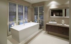 Modern bathroom design trends - Studio M Bathroom Design Inspiration, Modern Bathroom Design, Indoor Shutters, Interior Design Gallery, Ensuite Bathrooms, Washroom, Bathroom Colors, Bathroom Ideas, Finding A House