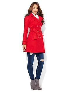 b1cd38cf383 Wool-Blend NY Trench Coat - New York & Company Double Breasted Coat,