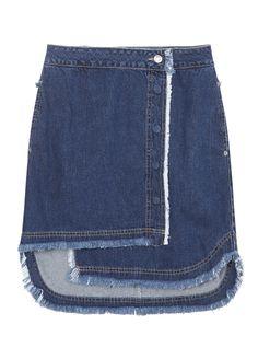 [SJYP] Unbalaced denim wrap skirt