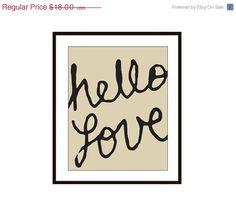 Hello Love Typography Digital Print - Tan and Black Wall Art Home Decor - Poster