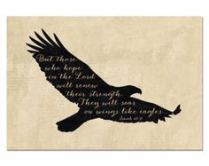 EAGLE SILHOUETTE, They Will Soar on Wings Like Eagles Verse, Isaiah 40:31, Vintage Typography