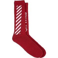 Off-White c/o Virgil Abloh Men's Diagonal-Striped Cotton Mid-Calf... ($80) ❤ liked on Polyvore featuring men's fashion, men's clothing, men's socks, men's mid calf socks, mens socks and mens cotton socks