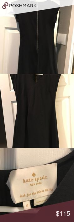 Kate Spade little black dress! Size 0 It's a size zero, but runs a little bit big. I usually wear a 4, but fit into it. I'd say it's more of a 2 than a 0. Worn once, great condition. The only thing that makes it not perfect condition is the tag isn't perfectly attached. Great find! Cute zipper, too! kate spade Dresses