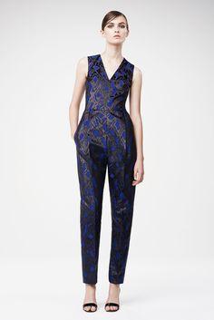 Markus Lupfer | Resort 2015 | 14 Blue printed sleeveless jumpsuit
