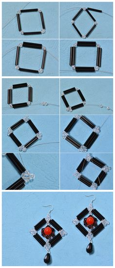 #Beebeecraft Instructions on How to Make a Pair of Glass #Beaded #Square #Drop #Earrings