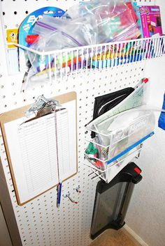 home school room organization ideas/ I'm putting the clip board idea in my food pantry!