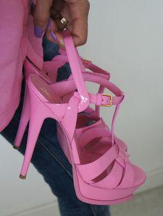 #pink #heels #straps #shoes #ysl #yvessaintlaurent