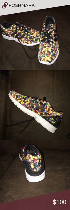 """Adidas ZX Flux """"M&M's"""" These sneakers are very unique and hard to find. They have never been worn. Very comfortable shoe. Perfect for adding an unique style to your wardrobe. I don't have the original box or tags other than a the size sticker in the shoe Adidas Shoes Sneakers"""