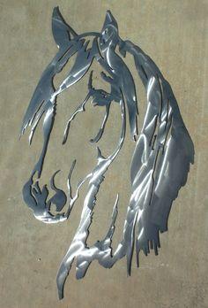 24 inch Horse Head Polished Metal Steel Wall Art by ThorsForge