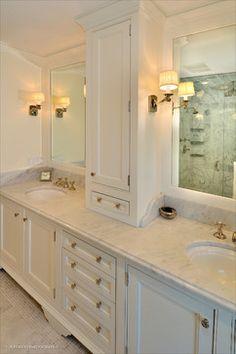 Bathroom Countertop Storage Cabinet Bathroom Storage tower Ideas On Foter Master Bath Tile, Master Bathroom Vanity, Bathroom Vanity Designs, Master Bath Remodel, Bathroom Spa, Modern Bathroom Design, Bathroom Interior Design, Small Bathroom, Bathroom Ideas