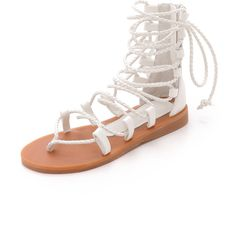 Jeffrey Campbell Hola Gladiator Sandals ($115) ❤ liked on Polyvore featuring shoes, sandals, flat sandal, white, zipper sandals, braided sandals, woven sandals, white sandals e white shoes