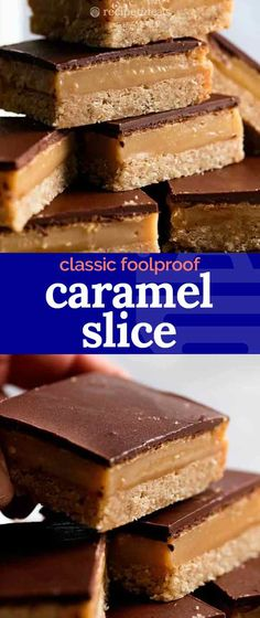 This is a Caramel Slice that works as promised the caramel sets perfectly and will never be runny the chocolate wont crack when cutting it and the caramel wont ooze out. Its an easy recipe with no thermometer required. Easy Caramel Slice, Chocolate Caramel Slice, Easy Slice, Easy Desserts, Delicious Desserts, Dessert Recipes, Yummy Food, Carmel Desserts Easy, Caramel Recipes