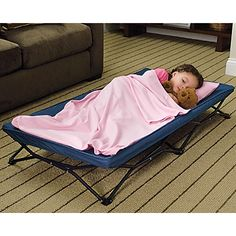 We have this and it is great for when my nephew comes or if there is a kid not feeling well who wants to sleep in our room or just hang out in the living room   Take this portable cot to Grandma's, day care, sleepovers—even big sister's soccer games.