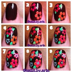 easy floral tutorial - Instagram photo by @nails_by_erin via ink361.com