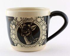Stoneware Mug with Hand Carved Deer : Antlers No. 3