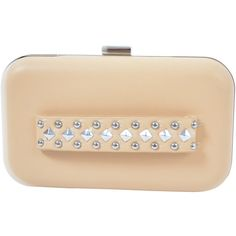 Cherie Clutch - Nude ($52) ❤ liked on Polyvore featuring bags, handbags, clutches, studded purse, beige purse, nude clutches, beige handbags and studded handbags