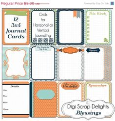 40 Off 12 Blessings Journal Cards  3x4 by DigiScrapDelights, $1.80