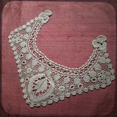 Antique Crochet French Handcrocheted Collar Lace - Vintage Fine Handmade Trim Fashion from France