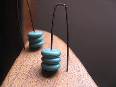 niobium earrings in turquoise howlite turquoise by Splurge on Etsy, $27.00